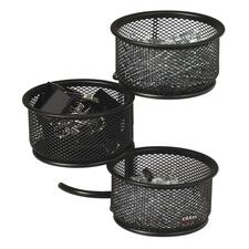 Rolodex Mesh 3-Tier Swivel Tower - Steel - 1 Each - Black