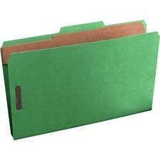 "Pendaflex Pressguard Classification Folders - Legal - 8 1/2"" x 14"" Sheet Size - 2"" Expansion - 4 Fastener(s) - 2"" Fastener Capacity for Folder, 1"" Fastener Capacity for Divider - 2/5 Tab Cut - 2 Divider(s) - 20 pt. Folder Thickness - Pressguard - Green -"