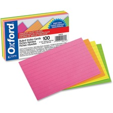 OXF 40279 Oxford Assorted Glow Ruled Index Cards OXF40279