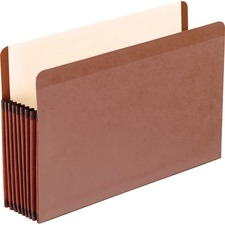 "Pendaflex Straight Tab Cut Legal Recycled File Pocket - 8 1/2"" x 14"" - 7"" Expansion - Red Fiber, Manila - Red Fiber - 30% - 5 / Box"