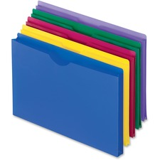 "Pendaflex Translucent Poly Legal-size File Jackets - Legal - 8 1/2"" x 14"" Sheet Size - 1"" Expansion - Poly - Blue, Magenta, Yellow, Green, Purple - 5 / Pack"