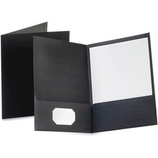 "TOPS Letter Pocket Folder - 8 1/2"" x 11"" - 100 Sheet Capacity - 2 Pocket(s) - Black - 1 Each"