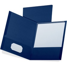 "Oxford Letter Recycled Pocket Folder - 8 1/2"" x 11"" - 100 Sheet Capacity - 2 Pocket(s) - Blue - 35% Recycled"