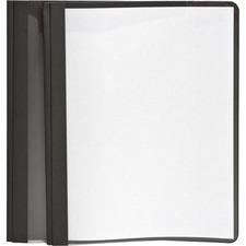 "Oxford Letter Report Cover - 8 1/2"" x 11"" - 100 Sheet Capacity - 3 x Tang Fastener(s) - 1/2"" Fastener Capacity for Folder - Leatherette - Black, Clear"