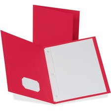 """Oxford Letter Recycled Pocket Folder - 8 1/2"""" x 11"""" - 85 Sheet Capacity - 3 Fastener(s) - 1/2"""" Fastener Capacity for Folder - 2 Inside Front & Back Pocket(s) - Leatherette Paper - Red - 10% Recycled"""