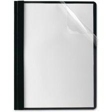 "Oxford Letter Report Cover - 8 1/2"" x 11"" - Tang Fastener - 1/2"" Fastener Capacity for Folder - Black, Clear"