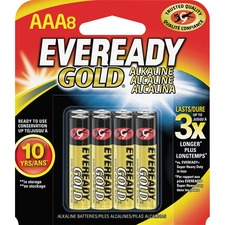 EVE A92BP8 Energizer Eveready Gold Alkaline AAA Batteries EVEA92BP8