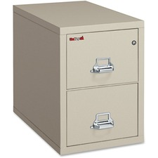 "FireKing Insulated File Cabinet - 20.8"" x 31.5"" x 27.8"" - 2 x Drawer(s) for File - Legal - Vertical - Fire Resistant - Parchment - Powder Coated - Steel"