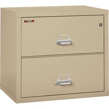 "FireKing Insulated File Cabinet - 31.1"" x 22.1"" x 27.8"" - 2 x Drawer(s) for File - Letter, Legal - Lateral - Fire Resistant - Parchment - Powder Coated - Steel"