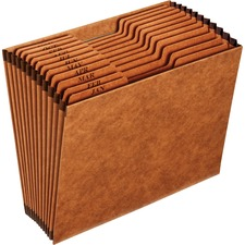 """Pendaflex 1/3 Tab Cut Letter Recycled Expanding File - 8 1/2"""" x 11"""" - 12 Pocket(s) - Top Tab Location - Brown - 10% Recycled - 1 Each"""