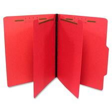 "Gussco Top Tab Six-Part Folder - Letter - 8.5"" x 11\"" - 2 Divider - 1\"" Expansion - 6 Fastener - 1\"" Capacity - 1 Each - 15pt. - Red"