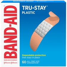 "Band-Aid Plastic Strips Adhesive Bandages - 0.75"" (19.05 mm) - 60/Box - Tan"