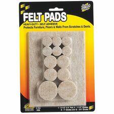 """Master Mfg. Co Scratch Guard® Felt Pads, Combo Pack - Polyester Felt, 3/16"""" Thick, Beige, 25/pk: 1 ea. pad, 4 ea. 1-1/2"""" Dia., 8 ea. 1"""" Dia., 12 ea. 3/4"""" Dia. Circles"""