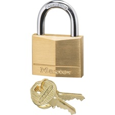 "Master Lock Solid Brass Padlock - Keyed Different - 0.25"" (6.35 mm) Shackle Diameter - Rust Resistant - Brass Body, Steel Shackle - Brass - 1 Each"