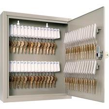 "Steelmaster 60-Key Cabinet - 10.6"" x 3"" x 12.1"" - Security Lock - Sand - Steel - Recycled"