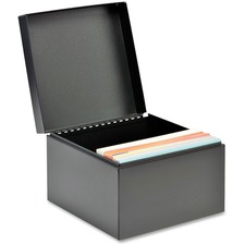 """MMF Card File Box - External Dimensions: 8.5"""" Width x 8.5"""" Depth x 6"""" Height - Heavy Duty - Steel - Black - For Card - Recycled - 1 Each"""