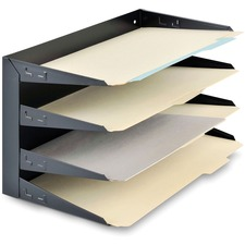 "MMF Horizontal Desk File Trays - 4 Compartment(s) - 4 Tier(s) - 9.3"" Height x 15"" Width x 8.8"" Depth - Desktop - Chip Resistant, Scratch Resistant, Label Holder, Durable - 20% - Black - Steel"