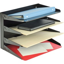 "MMF Horizontal Desk File Trays - 4 Compartment(s) - 4 Tier(s) - 9.3"" Height x 12"" Width x 8.8"" Depth - Desktop - Chip Resistant, Scratch Resistant, Label Holder, Durable - 20% - Black - Steel"