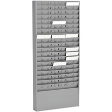 "MMF Time Card 54 Pocket Message Racks - 54 Compartment(s) - 5"" (127 mm) - 30"" Height x 13.6"" Width x 2"" Depth - Wall Mountable - Recycled - Gray - Steel, Aluminum - 1Each"