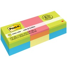 "Post-it® Notes Cube - Green Wave/Canary Wave - 1200 - 2"" x 2"" - Square - 400 Sheets per Pad - Unruled - Canary Yellow - Paper - Repositionable, Self-adhesive - 3 / Pack"
