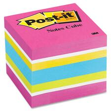 """Post-it® Notes Cube in Ultra Colors - 400 - 2"""" x 2"""" - Unruled - Assorted - Paper - Repositionable, Self-adhesive - 1 Each"""