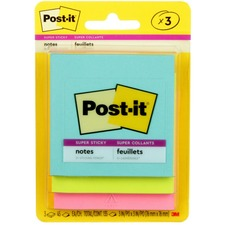 MMM 3321SSAN 3M Post-it Electric Glow 3x3 Super Sticky Notes MMM3321SSAN