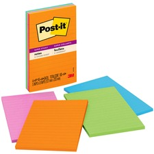 MMM 5845SSUC 3M Post-it 5x8 Color Lined Super Sticky Notes MMM5845SSUC