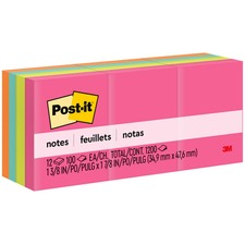 "Post-it® Notes Original Notepads - Cape Town Color Collection - 1200 - 1.38"" x 1.88"" - Rectangle - 100 Sheets per Pad - Unruled - Assorted - Paper - Self-adhesive, Repositionable"