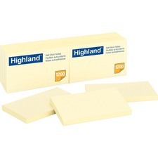"""Highland Self-sticking Notepads - 1200 - 3"""" x 5"""" - Rectangle - 100 Sheets per Pad - Unruled - Yellow - Paper - Self-adhesive, Repositionable"""