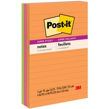"""Post-it® Super Sticky Notes - Rio de Janeiro Color Collection - 270 x Assorted - 4"""" x 6"""" - Rectangle - 90 Sheets per Pad - Ruled - Assorted - Paper - Self-adhesive, Recyclable"""