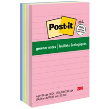 Post-it Greener Notes, 4 in x 6 in, Helsinki Color Collection, Lined