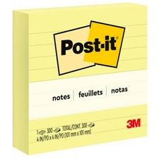 "MMM 675YL 3M Post-it Notes 4""x4"" Lined Pads MMM675YL"