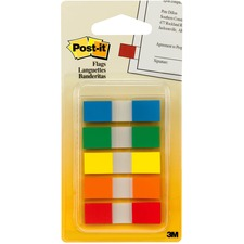 "Post-it Flags, Assorted Primary Colors, 1/2 in Wide, On-the-Go Dispenser - 20 x Blue, 20 x Green, 20 x Orange, 20 x Red, 20 x Yellow - 0.50"" x 1.75"" - Rectangle - Unruled - Blue, Green, Orange, Red, Yellow, Assorted - Removable, Self-adhesive - 100 / Pack"
