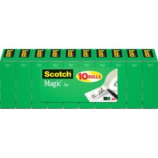 "Scotch 3/4""W Magic Tape - 27.78 yd Length x 0.75"" Width - 1"" Core - 10 / Pack - Matte Clear"