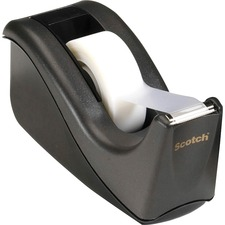 """Scotch Wave Design 1"""" Core Tape Dispensers - Holds Total 1 Tape(s) - 1"""" (25.40 mm) Core - Refillable - Non-skid Base - Black"""