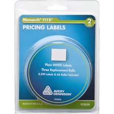 "Monarch Model 1115/Alpha Pricemarker Labels - 4 7/64"" Width x 3 9/64"" Length - White - 3 / Roll - 3 / Pack"