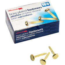 OIC 99814 Officemate Brass Plated Round Head Fasteners OIC99814