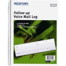 RED 51114 Rediform Follow-Up Voice Mail Log Book RED51114