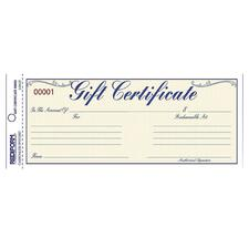 RED 98002 Rediform Gift Certificates w/ Envelopes RED98002