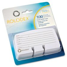 "Rolodex Rotary File Petite Card Refills - 100 Card Capacity - For 2.25"" (57.15 mm) x 4"" (101.60 mm) Size Card - White"