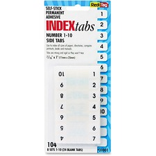 RTG 31001 Redi-Tag Permanent Numbered Tab Indexes RTG31001