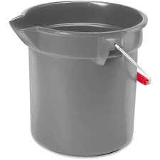 "Rubbermaid Commercial Brute 10-quart Utility Bucket - 9.46 L - 10.20"" (259.08 mm) - Plastic, Steel, High-density Polyethylene (HDPE) - Gray, Nickel, Chrome"