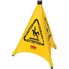 RCP 9S0000YW Rubbermaid Comm. Multi-Lingual Caution Safety Cone RCP9S0000YW