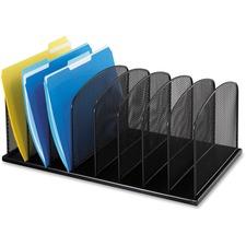 "Safco Mesh Desk Organizers - 8 Compartment(s) - 2"" (50.80 mm) - 8.3"" Height x 19.3"" Width x 11.5"" Depth - Desktop - Black - Steel"