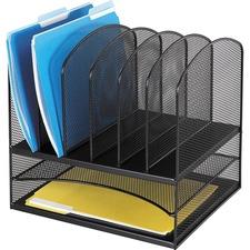 "Safco Onyx 2 Horizontal/6 Upright Desk Organizer - 8 Compartment(s) - 13"" Height x 13.3"" Width x 11.4"" Depth - Desktop - Black - Steel"