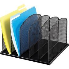 "Safco Mesh Desk Organizers - 5 Compartment(s) - 2"" (50.80 mm) - 8.3"" Height x 12.5"" Width x 11.3"" Depth - Desktop - Black - Steel"