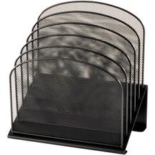 "Safco Onyx Wire Mesh Desktop Organizer - 5 Compartment(s) - 1"" (25.40 mm) - 12"" Height x 11.3"" Width x 7.3"" Depth - Desktop - Black - Steel - 1 Each"