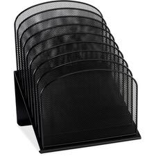 "Safco Onyx Wire Mesh Desktop Organizer - 8 Compartment(s) - 1"" (25.40 mm) - 14"" Height x 11.8"" Width x 10.8"" Depth - Desktop - Black - Steel - 1 Each"