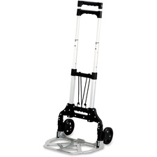 "Safco Stow-Away Hand Truck - Telescopic Handle - 49.90 kg Capacity - 4 Casters - 5"" (127 mm) Caster Size - Aluminum - 16.3"" Width x 25"" Depth x 39.5"" Height - Aluminum Frame - Silver, Black"