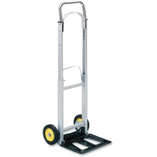 "Safco Hideaway Compact Hand Truck - Folding Handle - 113.40 kg Capacity - 2 Casters - 6"" (152.40 mm) Caster Size - Steel, Aluminum - 15.5"" Width x 16.5"" Depth x 43.5"" Height - Aluminum Frame - Silver"